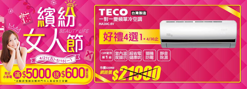 TECO一對一變頻單冷空調MS28IC-BV MA28IC-BV