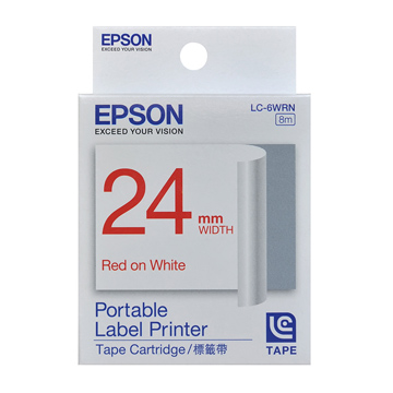 EPSON 24mm一般白底紅字標籤帶