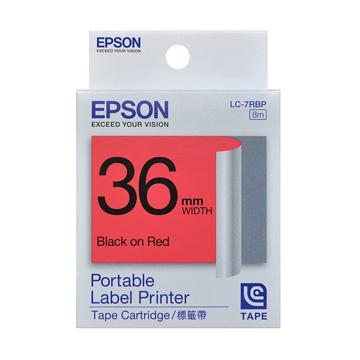 EPSON 36mm粉彩系列紅底黑字標籤帶