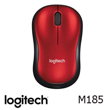 羅技 無線滑鼠M185-黑紅色(910-002501)