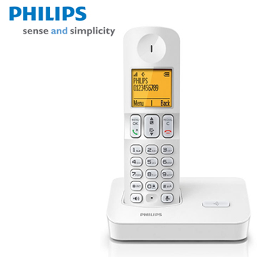 [福利品]PHILIPS時尚白中文數位無線電話D4001W
