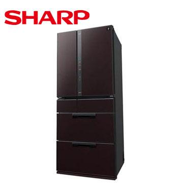 SHARP 601公升1級除菌離子鏡面六門冰箱(黑鑽棕)
