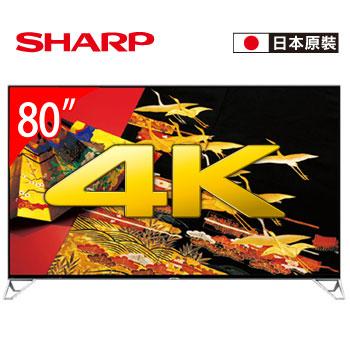 [福利品] SHARP 80型 4K四原色安卓智慧電視