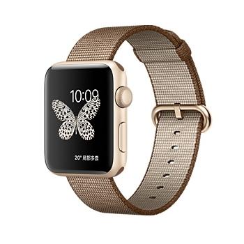 【42mm】Apple Watch Series 2/金色鋁金屬/咖啡色配焦糖色尼龍