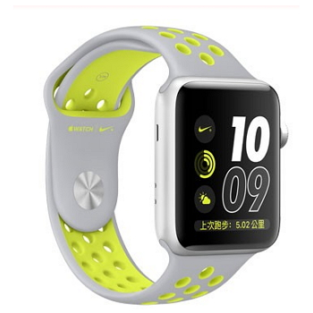 【38mm】Apple Watch NIKE/銀鋁金屬/霧銀配螢光黃