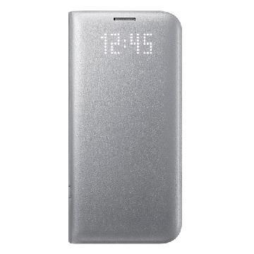 SAMSUNG S7 Edge 皮革翻頁式皮套-銀