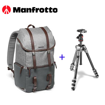 Manfrotto 溫莎生活雙肩後背包+BeFree 旅行反摺腳架套組-灰