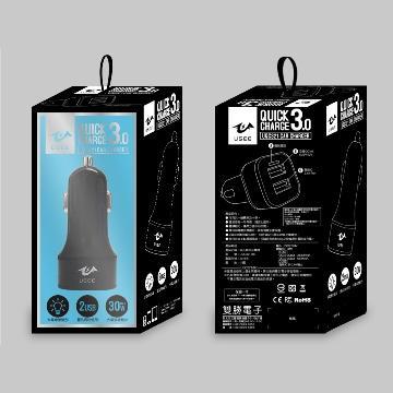【QC3.0】USEE 兩孔車用充電器-黑色
